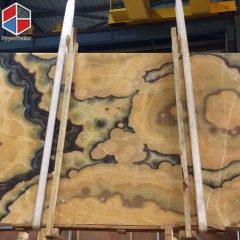 Bubble yellow onyx slab