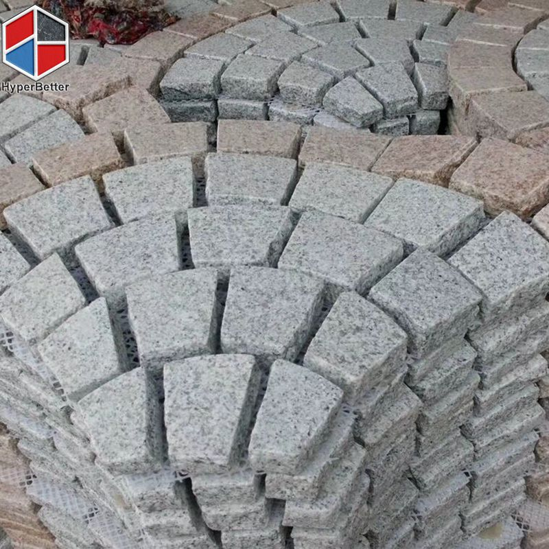 Fan shaped granite paving stone