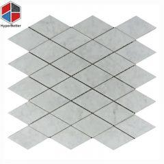 Rhombus shape white marble mosaic