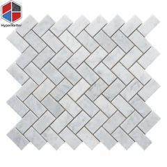 Herringbone carrara white marble mosaic (1)