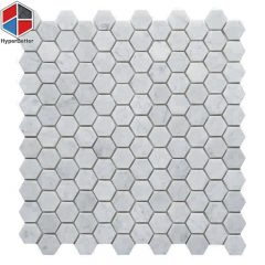 Hexagon carrara white marble mosaic (1)