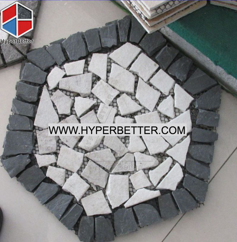 Hexagon slate stone medallion