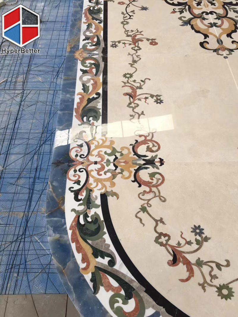 Luxury oval marble medallion for lobby (1)