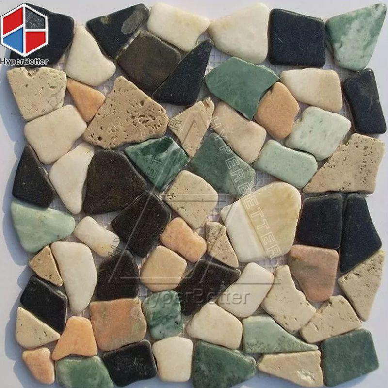 Mixed color cobblestone mosaic