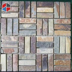 Strip mixed color slate mosaic