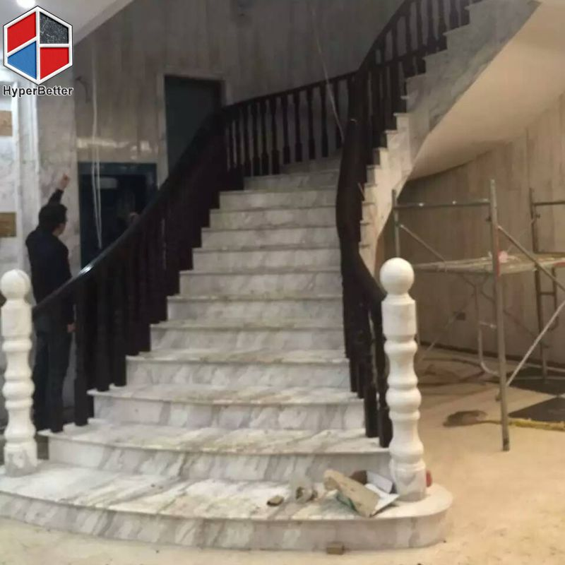 Arabescato white marble stairs (3)