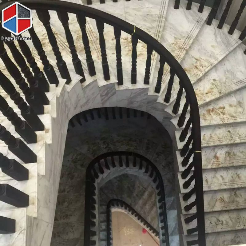 Arabescato white marble stairs
