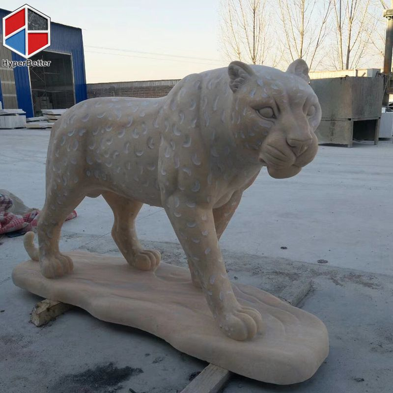 Garden stone leopard carving sculpture