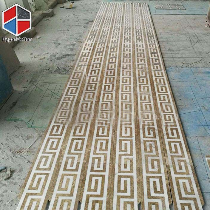 Light emperador marble medallion border