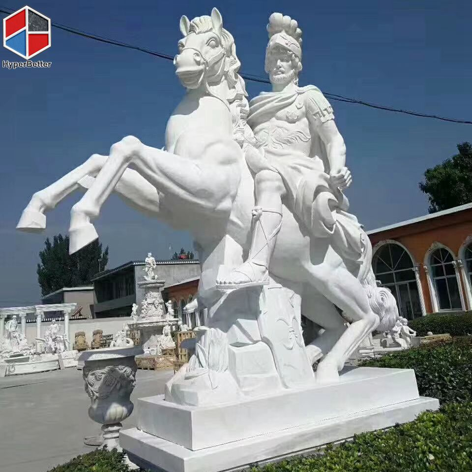 Natural marble horse sculpture