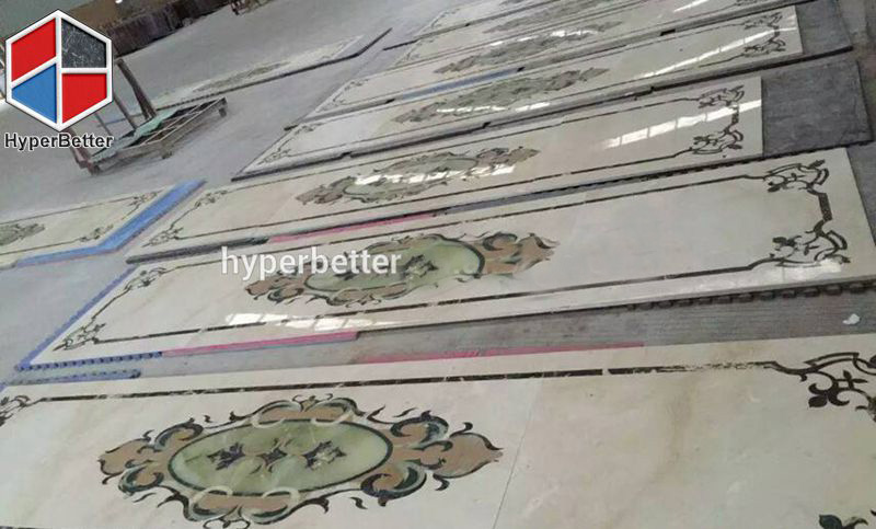 Oriental style water jet marble tile