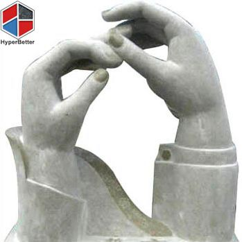 Abstract stone hands sculpture
