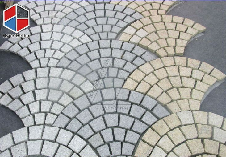Multi color fan shaped paving stone-2