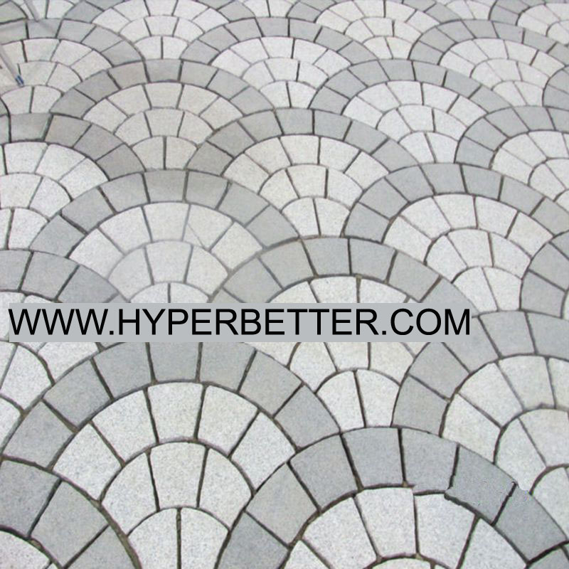 Multi color fan shaped paving stone-3