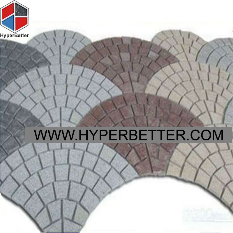 Multi color fan shaped paving stone-1